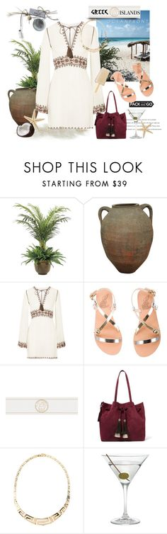 """""""Greek Island Style"""" by rever-de-paris ❤ liked on Polyvore featuring NDI, Lazy Days, Talitha, Ancient Greek Sandals, Versace, Loeffler Randall, Nordstrom, Summer, Greece and contestentry"""