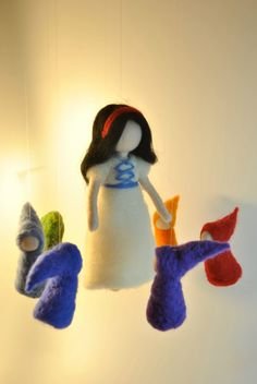Waldorf inspired needle felted doll mobile Snow white by MagicWool, via Etsy.