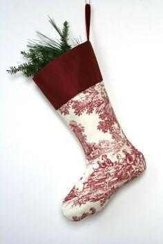 Red Toile Christmas Stocking  Feasting  by WonderfulLifeFarm, $26.00