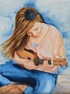 Art by Linda Cowell: Abby's Ukulele watercolor