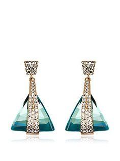 Sevil Aqua Crystal Triangle Drop Earrings with Swarovski Elements