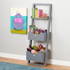 Bookcase_Sloane_GY_247936  http://www.landofnod.com/kids-bookcases/kids-storage-and-shelving/little-sloane-leaning-bookcase-with-bins-grey/f13052