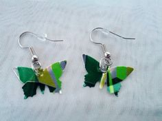 Upcycled Pop Can Earrings  Green Silver Yellow by NeoNew on Etsy, $10.50