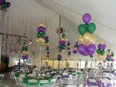 Mardi Gras Centerpieces, Mardi Gras Decorations, Balloon Decorations, Balloon Ideas, Balloon Clusters, Advertisement Images, Mardi Gras Party, Sweet 16, Balloons