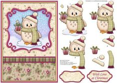 OZZIE OWL WITH GIFT Christmas Card Topper Decoupage on Craftsuprint designed by Janet Briggs - Christmas card front with 3d step by step decoupage, for an A5 card.Features cute Ozzie owl with Christmas gift.2 sentiment tags. One blank, the other reads,With Love at Christmas - Now available for download!