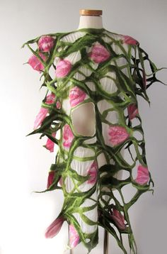Nuno felted vest scarf white green pink flower by galafilc