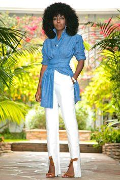 Style Pantry | Tie Waist Denim Shirt + Front Slit Pants