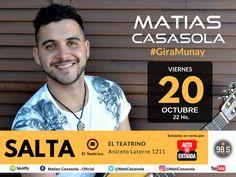 """Matias Casasola presenta """"Munay"""": Viernes 20 de Octubre a las 22 hs."""