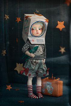Un voyage à la Lune // Stargirl Ooak Dolls, Blythe Dolls, Art Dolls, Foto Fantasy, Fantasy Art, Art Jouet, Pop Art, Tilda Toy, Modelos 3d