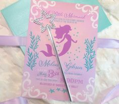 A little Mermaid Is on the Way Baby Shower Invitations Wand Invitations Silver Teal Purple Ombre Mermaid Arial Birthday Baby Shower Mermaid