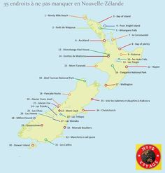 Carte Lieux à voir Nouvelle Zélande