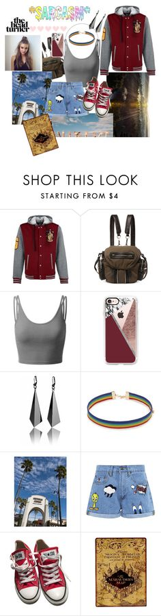 """Gryffindor Gal (;"" by goar-sofia ❤ liked on Polyvore featuring Alexander Wang, Doublju, Casetify, Forever 21, Paul & Joe Sister, Converse and The Northwest Company"
