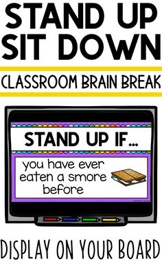 Stand Up Sit Down Break Break for Elementary Students Elementary School Counseling, Elementary Education, Elementary Music, Music Education, Health Education, Physical Education, 2nd Grade Classroom, Classroom Fun, Google Classroom