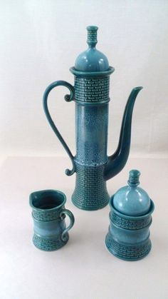 Unusual VTG AES Japan Ceramic Medieval Castle Keep Tea Pot & Cream Sugar Set #AES