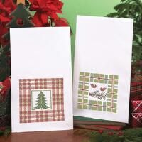 Herrschners® Plaid and Pine Towel Pair Stamped Cross-Stitch