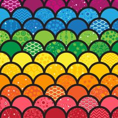 Waves of Rainbows (Black) fabric by robyriker on Spoonflower - custom fabric