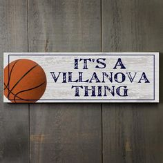 """Basketball with Blue Text 17"""" Wooden Sign"""