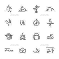 Camping Icons — JPG Image #outline #outdoor • Available here → https://graphicriver.net/item/camping-icons/12141381?ref=pxcr