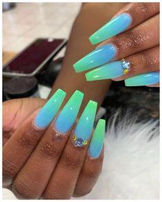 nails in 2019 gel nails, acrylic nails, swag nails Glow Nails, Aycrlic Nails, Pink Nails, Coffin Nails, Blue Ombre Nails, Art Nails, Stiletto Nails, Glitter Nails, Edgy Nails