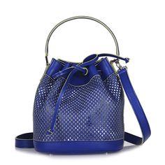 MINI BUCKET BAG - BLUE PERFORATED