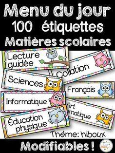 Menu du jour - matières - emploi du temps -... by French Buzz | Teachers Pay Teachers