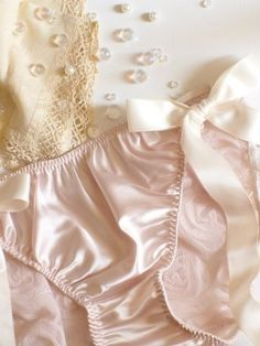 Pocket Full of Posies Rosette Side-Tie Panties. Love that sheen & soft touch of satin! Pink Lingerie, Pretty Lingerie, Beautiful Lingerie, Baby Doll Nighties, Wedding Underwear, Girly Girl, Glamour, Satin, Trending Outfits