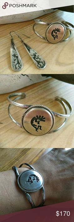 Unmarked Sterling kokopelli cuff and earrings Earrings are vintage not sure about the cuff which is a nice size and weight and is pretty malleable. Earrings measure 2.5' Vintage Jewelry Necklaces