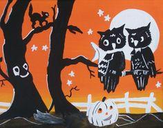Folk Art Vintage Inspired Owls White Pumpkin Trees Cat Halloween