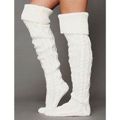 Free People Cable Knit Thigh High Socks