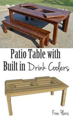 Free building plans for the perfect table for your patio it has built-in ice boxes to keep your drinks cool! Free building plans for the perfect table for your patio it has built-in ice boxes to keep your drinks cool! Diy Pergola, Diy Deck, Diy Patio, Pergola Ideas, Pergola Canopy, Pergola Roof, Wood Patio, Patio Roof, Pergola Kits