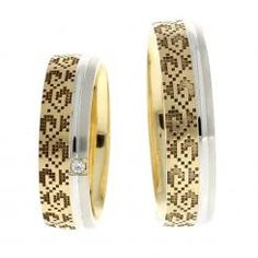 Verighete ATCOM Lux IASMINA aur galben cu alb Gold Jewellery Design, Gold Jewelry, Wedding Rings, Engagement Rings, Gold Rings, Aur, Bangles, Rose Gold, Fine Art