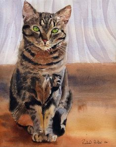 Brown Tabby Cat Art Print of my watercolor por rachelsstudio