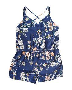 4833abd56217 Mikayla Cross Strap Romper - Navy Floral