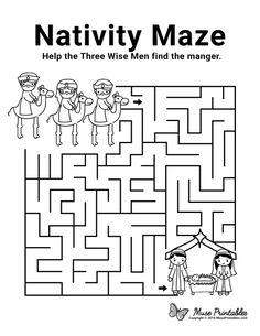 Christmas Maze, Christmas Bible, Childrens Christmas, Kids Christmas, Christmas Nativity, Mazes For Kids Printable, Free Christmas Printables, Printable Calendar Template, Free Printable