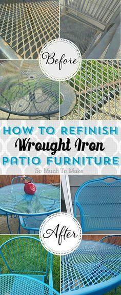 refurbishing wrought iron furniture - love this idea.I think we