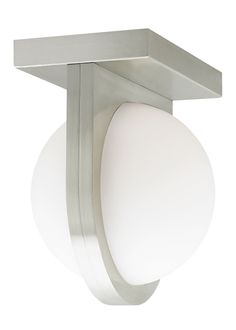 LBL Lighting Capture Wall or Flush Mount - A gently diffused orb of LED light is held captive by a band extending from the fixture's sleep, contemporary metal body. Can be mounted as a sconce vertically or horizontally.