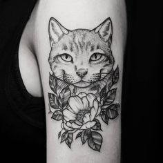 black work flower and cat tattoo idea on arm for girl