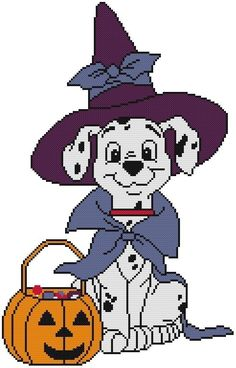 Cross Stitch Knit Crochet Plastic Canvas Waste Canvas Rug Hooking Bead Work Pattern . This is a Disney Dalmation all ready for Halloween! https://www.pinterest.com/resparkled/