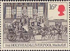 Royal Mail 16p Stamp (1984) Holyhead and Liverpool Mails leaving London, 1828