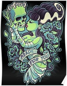 Title: Made For You Artist: Jehsee This canvas giclee features a pin up illustration of the Bride of Frankenstein. Made-to-order Jehsee canvas fine art reproductions on canvas. Stretched and ready to Tatoo Art, Tattoo Drawings, Art Drawings, Halloween Wall Decor, Halloween Art, Halloween Canvas, Halloween 2017, Halloween Tattoo, Modern Halloween