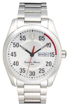Free shipping and returns on Scuderia Ferrari 'D50' Round Bracelet Watch, 42mm at Nordstrom.com. A speedometer-inspired dial lends cool racetrack style to a handsome bracelet watch forged from bright stainless steel.