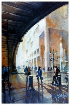 waiting for the train-grand central by Thomas W Schaller Watercolor ~ 22 inches x 14 inches