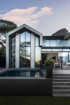 View the full picture gallery of SM 37 Zinc Cladding, Architecture Design, A Frame House, Modern Materials, Decoration, Neutral Colors, Outdoor Spaces, Swimming Pools, Living Spaces