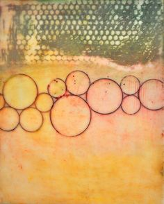 floating circles - original encaustic painting, by encausticalchemy.