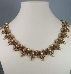 Necklace Woven in Gold with Pearls Pip Beads O beads Super Duos and Crystals