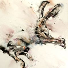 At 90x90cm, Hare Encounter is one my largest watercolour to date and presented all sorts of physical challenges in its execution! However painting on canvas is a whole load of fun.  I experimented ...
