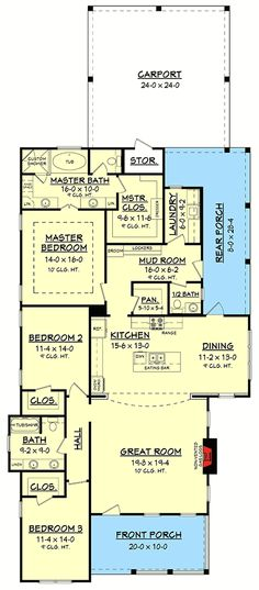 This wonderful 3 bedroom, 2 ½ bath house plan is loaded with features and style. It offers a luxurious master suite, oversized closet, mudroom entry with lockers, large walk-in pantry. The only thing - I'd rearrange the kitchen. Dream House Plans, Small House Plans, House Floor Plans, 2200 Sq Ft House Plans, The Plan, How To Plan, Plan Plan, Barndominium Floor Plans, Barndominium Texas