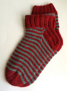 Red-Turquoise Striped Wool Socks