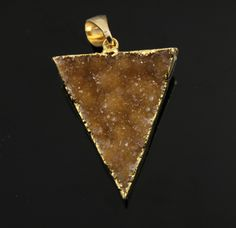 Dazzling Druzy Triangle Pendant in Stunning Earth Tones, Heavy Gold Plated, 29x34mm, A+ Gorgeous Quality, Electroplated Edge (DZY/TRI/137) by Beadspoint on Etsy