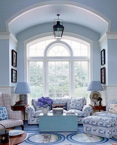Anthony Baratta Designs - notice palladium window, good blend of patterns, blue and white is so lovely!
